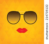 sunglasses and  lips. vector...   Shutterstock .eps vector #214735132