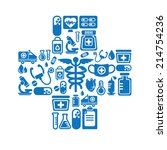 medical icons in cross shape | Shutterstock .eps vector #214754236