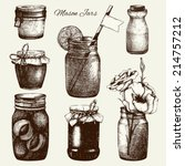 vector collection of ink hand... | Shutterstock .eps vector #214757212