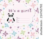 baby girl arrival card. baby... | Shutterstock .eps vector #214765702