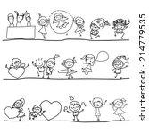 hand drawing cartoon happy kids  | Shutterstock .eps vector #214779535
