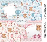 set of baby cards. newborn card ... | Shutterstock .eps vector #214783732