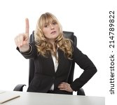 Small photo of Manageress admonishing a junior employee waving her finger in the air with a stern expression, on white