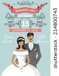 wedding invitation with cartoon ... | Shutterstock .eps vector #214800745