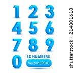 blue 3d numbers. vector set. | Shutterstock .eps vector #214801618