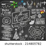 hand drawn christmas symbols... | Shutterstock .eps vector #214805782