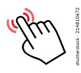 cursor hand icon red waves | Shutterstock .eps vector #214810672