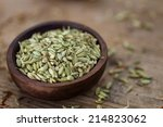 Fennel Seeds In A Small Wooden...