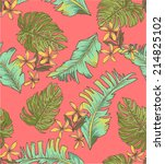 seamless tropical leaves print... | Shutterstock .eps vector #214825102