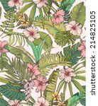 seamless sketched tropical... | Shutterstock .eps vector #214825105