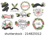 set of ten hawaii logos... | Shutterstock .eps vector #214825312