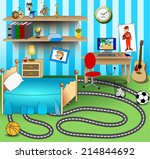 some kid bedroom. vector art... | Shutterstock .eps vector #214844692