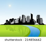 City With Green Grass. Vector...