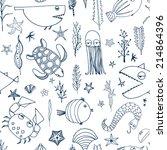 cute hand drawn seamless... | Shutterstock .eps vector #214864396