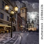prague  old city hall on the... | Shutterstock . vector #214866136