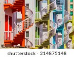 colorful spiral stairs of... | Shutterstock . vector #214875148