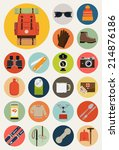 vector flat round icons of... | Shutterstock .eps vector #214876186