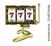 slot machine with gold shine.... | Shutterstock .eps vector #214876666