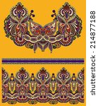 neckline ornate floral paisley... | Shutterstock . vector #214877188