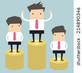 businessman winner standing on... | Shutterstock .eps vector #214890346