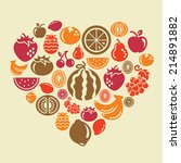 fruits icons in heart shape | Shutterstock .eps vector #214891882