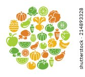 fruit and vegetable icons in... | Shutterstock .eps vector #214893328