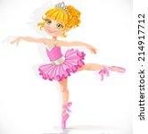 beautiful little blond... | Shutterstock .eps vector #214917712