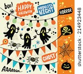 set of halloween hand drawn... | Shutterstock .eps vector #214923448