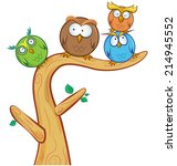 Funny Owl Group Cartoon On Tre...