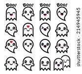 kawaii cute ghost for halloween ... | Shutterstock .eps vector #214945945