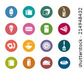 food and drinks color icons | Shutterstock .eps vector #214948432