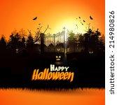 haunted graveyard in the woods  ... | Shutterstock .eps vector #214980826