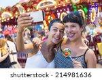 happy young women taking selfie ... | Shutterstock . vector #214981636