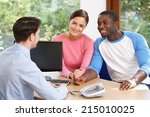 couple talking with financial... | Shutterstock . vector #215010025