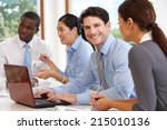 group of businesspeople meeting ... | Shutterstock . vector #215010136