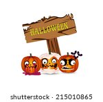 halloween pumpkins board | Shutterstock .eps vector #215010865