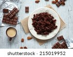 chocolate pasta on a white... | Shutterstock . vector #215019952