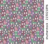 cute cartoon seamless pattern... | Shutterstock .eps vector #215021896