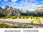 italian dolomites landscape and ... | Shutterstock . vector #215022406