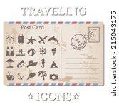 vector vintage travel postcard... | Shutterstock .eps vector #215043175