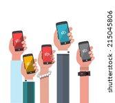 hand holding low battery...   Shutterstock .eps vector #215045806
