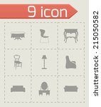 vector black furniture icons... | Shutterstock .eps vector #215050582