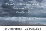 Small photo of Inspirational quote about life, love, and soul by Alfred Lord Tennyson on a beautiful stormy seascape background