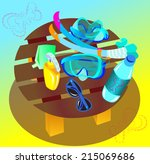 things for snorkeling and... | Shutterstock .eps vector #215069686