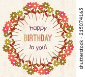 happy birthday card with retro... | Shutterstock . vector #215074165