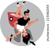 cartoon couple in 1950s style... | Shutterstock .eps vector #215082055