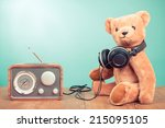 retro toy teddy bear and radio... | Shutterstock . vector #215095105