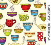 seamless tea pattern with... | Shutterstock . vector #215096848