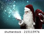 santa claus with gift bag... | Shutterstock . vector #215115976