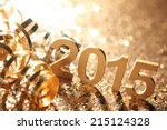 new year decoration closeup on... | Shutterstock . vector #215124328